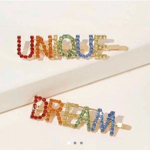 Rainbow letter colored hair pins🌈🌈